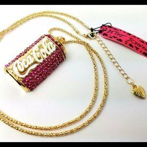 Betsey Johnson Coca Cola Rhinestone Gold Necklace